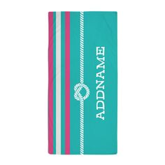 Pink Turquoise Stripes Knot Rope Beach Towel