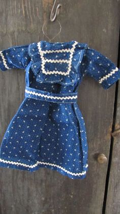 19th C Small Early Antique Old White Blue Calico Doll Dress Textile Fabric | eBay