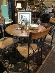 Solid Wood Round Table And 4 Chairs, Wrought Iron - Auburn SKU NPLX6X - $499
