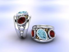 Special order with Aquamarine and Garnet in silver and gold - Fia Foure
