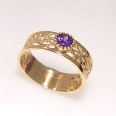 Gold ring, solid Gold ring, purple Gold Ring, 14k Gold Ring, Zircon gold ring, simple Gold Ring, Purple Ring,gift for her, purple zirconia,