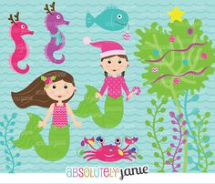 Mermaid Under The Sea Christmas Clipart Pink Holiday Clip Art