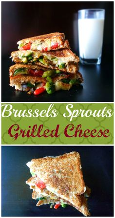 Add brussels sprouts and sweet peppers to grilled cheese. It is really fast to make and a great way to get your kids to eat Brussels sprouts.