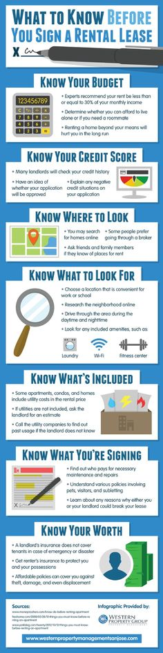 Landlords often check credit history before accepting potential tenants. Prepare for your landlord meeting by finding out what your credit score is and addressing any errors. This infographic from a rental property team in San Jose has more tips and advice. Source: http://www.westernpropertymanagementsanjose.com/674197/2013/04/02/what-to-know-before-you-sign-a-rental-lease---infographic.html