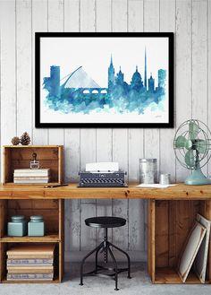 Dublin watercolor skyline Dublin Ireland Dublin by iPrintArt