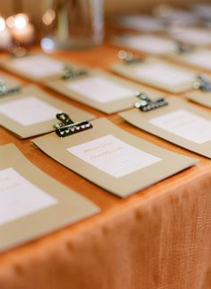 """clipboard"" escort cards by @suann song 