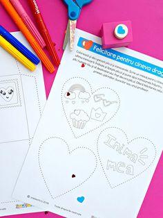 Colorează și decupează plicul și inimioarele. Scrie un mesaj pentru cineva drag pe ultima inimioară. Îndoaie și lipește plicul și pune apoi inimioarele înăuntru. Scrie pe plic numele tău și al destinatarului. Poți decora plicul. Oferă felicitarea celui mai bun prieten, părinților, bunicilor sau unui profesor.