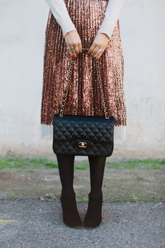 Pleated Sequin Midi