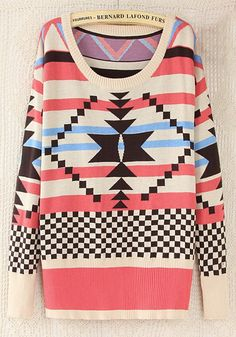 Multicolor Geometric Print Loose Thick Wool Blend Sweater