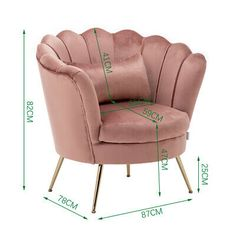 Blush Pink Velvet Armchair Lotus Shell Back Tub Chair 2 Seater Sofa Couch Sette Settee Sofa, Velvet Armchair, Upholstered Arm Chair, Sofa Uk, Home Decor Furniture, Sofa Furniture, Country Furniture, Furniture Design, Dining Chair Makeover