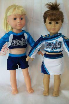 "RESERVED Custom Order for (ascharadin) - (2) Gems All Star Uniforms for 18"" dolls American Girl Crafts, American Girl Clothes, American Dolls, Doll Clothes Patterns, Clothing Patterns, My Life Doll Clothes, Cheer Costumes, Cheer Dance, Girl Dolls"