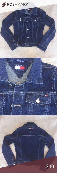 "Tommy Jeans Dark Wash Jean Jacket Tommy Jeans Dark wash Jean jacket. In great condition, size small p. Bust 35"" sleeve 24"" Length 19"". Tommy Hilfiger Jackets & Coats Jean Jackets"