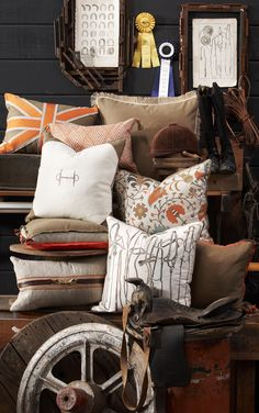Lacefield Designs #equestrian inspired #pillow collection.  Credit: Chris West Photo  www.lacefielddesigns.com
