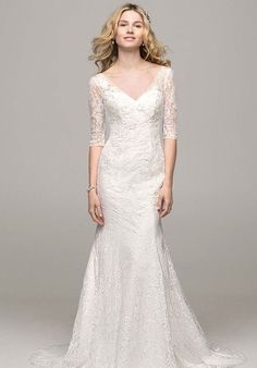 3/4 Sleeve All Over Lace Trumpet Gown (Style: WG3684) $749 at David's Bridal