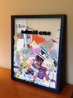 Display box to show off ticket stubs from concerts, sporting events, and theme parks. Cute for game room Home Projects, Craft Projects, Projects To Try, Display Boxes, Display Case, Display Ideas, Shadow Box, Shadow Frame, Diy Gifts