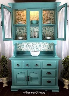 Painted hutch with fabric backing
