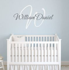 "Personalized Initial and Name Vinyl Wall Decal with Monogram Personalized for Baby Nursery Boy or Girl Elegant Script 22"" FS029 on Etsy, $45.00"