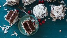 Chocolate and raspberry lamingtons | Rich, decadent, indulgent and insanely large these lamingtons are perfect to serve as a dessert with fresh raspberries or to share with another chocolate lover (but only if you can part with the other half!).