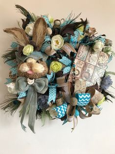 Decorate your door, front porch with this cute, handmade bunny wreath. This big guy is just perfect for spring, easter. Wreaths For Sale, Wreaths For Front Door, Door Wreath, Mesh Wreaths, Easter Wreaths, Christmas Wreaths, Spring Wreaths, Halloween Home Decor, Handmade Decorations