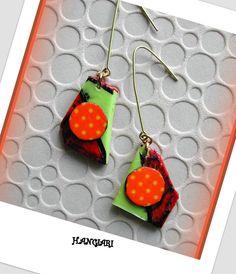 alittlemarket/Boucles d'oreilles originales verte orange, boucles d'oreilles de forme originale, boucles d'oreilles en porcelaine froide et papier masking : Boucles d'oreille par boucles-d-oreilles-originales-insolites