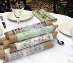 love these wedding favours - gift wrapped tree tube seedlings.