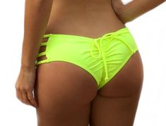 03091655f6 Yellow Double Rise Adjustable Scrunch Bikini Bottom - Thick Braided Side  Straps - Fully Lined - Ruch