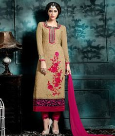 Buy Beige Georgette Churidar Suit 75249 online at lowest price from huge…