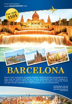 Organize the most phenomenal tour with our free Barcelona psd flyer template! Make your travel agency poular! Travel Ads, Travel Logo, Travel Tours, Travel And Tourism, Travel Agency, Travel Posters, Travel Trip, Free Travel, Travel Brochure Design