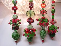 happy holidays bead ornaments  lots of pretty dangles at this Etsy shop