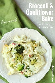 Watch the quick cooking video for broccoli and cauliflower bake, with a cheats cheese sauce. Low carb and nutritious. Gluten free, low car, LCHF, HFLC, Banting and primal. | ditchthecarbs.com via @ditchthecarbs