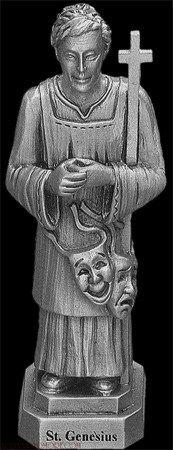 small pewter statue of Saint Genesius, artist unknown