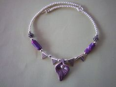 Purple Necklace, Plum, Pearls and Silver, Polymer Clay, Cloth Beads, OOAK via Etsy     $42.00