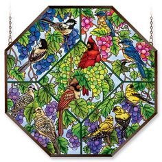 Amia 5934 Window Decor Panel, Heard On The Grapevine Bird Design, Hand-painted Glass, 22-Inch W by 22-Inch L by Amia. Save 4 Off!. $124.66. 22-inch w by 22-inch l. Includes chains. Hand-painted glass. Amia window decor panel, Heard on the Grapevine design, songbirds, cardinals.  Hand-painted glass.  Comes with an aluminum frame and chain for hanging purposes.
