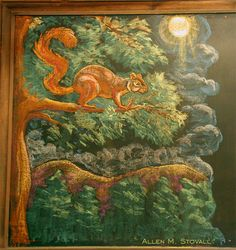 Waldorf ~ 1st grade ~ Language Arts ~ Fairy Tales ~ Red, the Fox Squirrel (summer setting) ~ chalkboard drawing