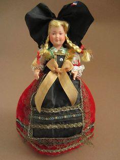 French Alsatian costume doll, folk doll, vintage, Petitcollin, France, Alsace