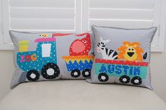 Zoo train appliqué cushion set. PDF pattern