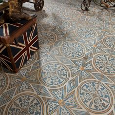 Our Kings 17 3/4 x17 3/4 Patterned Tile in Flatlands is the perfect ceramic floor and wall tile! The defining feature of this encaustic-inspired tile is the unique, low-sheen glaze. Ideal for Boho and Mid-century design it starts at $9.99 SQ FT.