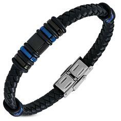 Black Braided Leather Bracelet w/ Stainless Steel 3-tone Rings for Men