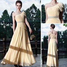 저렴한 Duoliqi amarillo tostado clásico - vestido de noche - la novia se... ($222) via Polyvore