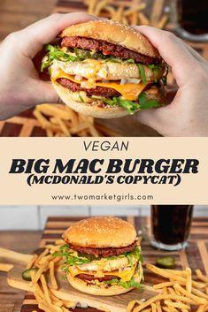 Vegan Foods, Vegan Dishes, Vegan Recipes, Vegan Big Mac Recipe, Burger Toppings, Burger Recipes, Best Burger Recipe, Vegan Mcdonalds, Vegetarian Fast Food