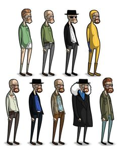 Progress chart of Walter White/Heisenberg.looks a lot like if Tim Burton made Breaking Bad as well. Breaking Bad Poster, Breaking Bad Series, Breaking Bad Art, Series Movies, Movies And Tv Shows, Tv Series, Walter White, Costume Breaking Bad, Beaking Bad