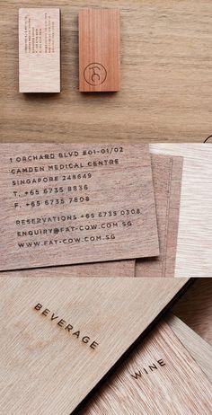 Restaurant wood wooden business card design