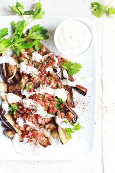 fried eggplant with tahini yogurt sauce