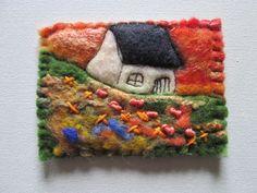 original aceo textile aceo felt aceo by SueForeyfibreart on Etsy Orange Sky, Blanket Stitch, Needle Felting, Hand Stitching, Fiber Art, Merino Wool, Hand Sewing, Original Art, Creative