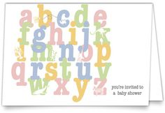 Linen Baby Shower Invitations - Animal Alphabet