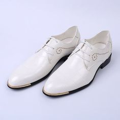 Men White Leather Lace Up Studded Wedding Prom Dress Oxford Shoes SKU-1100270