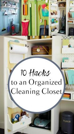 10 Hacks to an Organized Cleaning Closet - Cleaning Hacks Small Space Organization, Home Organization Hacks, Organizing Your Home, Closet Organization, Organizing Tips, Organising, Closet Hacks, Closet Ideas, Diy Cleaning Products