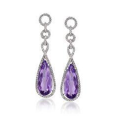 9.35 ct. t.w. Amethyst and .80 ct. t.w. Diamond Teardrop Earrings In 14kt White Gold