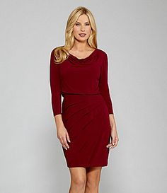 London Times Woman Cowlneck Blouson Bodice Dress #Dillards