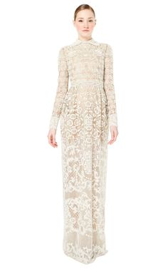 Shop Antique Embroidered Gown With Yoke by Valentino for Preorder on Moda Operandi